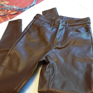 NWOT FREE PEOPLE FAUX LEATHER PANTS, 27, BROWN